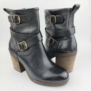 Lucky Brand Black Heeled Buckle Ankle Boots 6 M